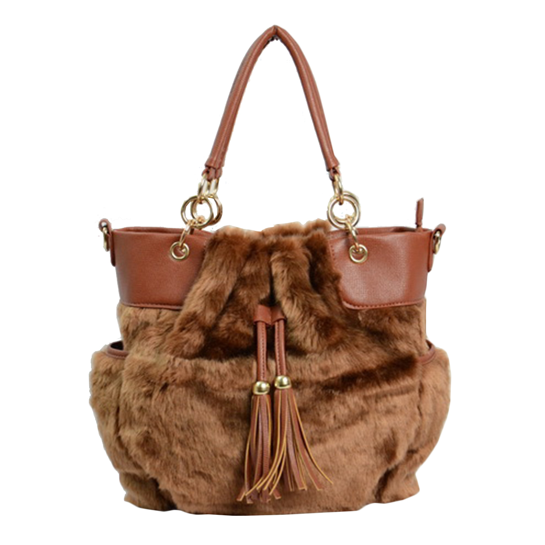 2017 Winter  Luxury Handbags For Women Famous Brand Female Faux Fur Shoulder Bags  tassel patchwork CrossBody Bag Bolsa Feminina