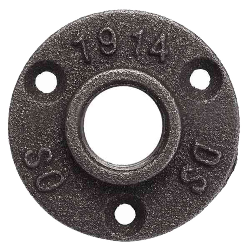 34inch Malleable Iron Pipe Floor Flange Threaded Fitting, Black- Pack of 10
