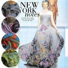 10Meters/Lot Flower Printed Silk Chiffon Fabric Nature Pure Fabrics Material Sew Women Dress Scarf Clothing 6MM