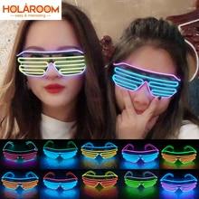 Двухцветные жалюзи режимы Flash EL Flash очки светящееся освещение цветные яркие светящиеся очки для диджея классические карнавальные вечерние танцевальные декорации