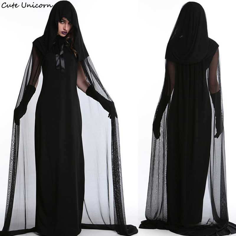 Women Halloween Purim Carnival Black Gothic Witch Cosplay Costume female fantasia adulto Long Dress girls sexy outfit