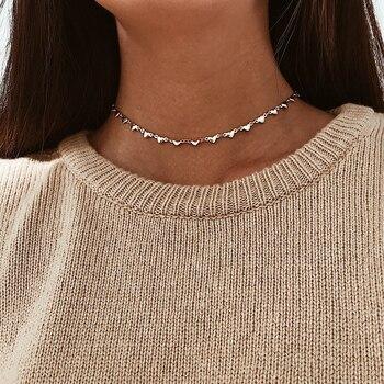Love Heart Chocker Choker gold Necklace For Women Necklaces chokers Collares Mujer collier femme colar gargantilha bijoux 1