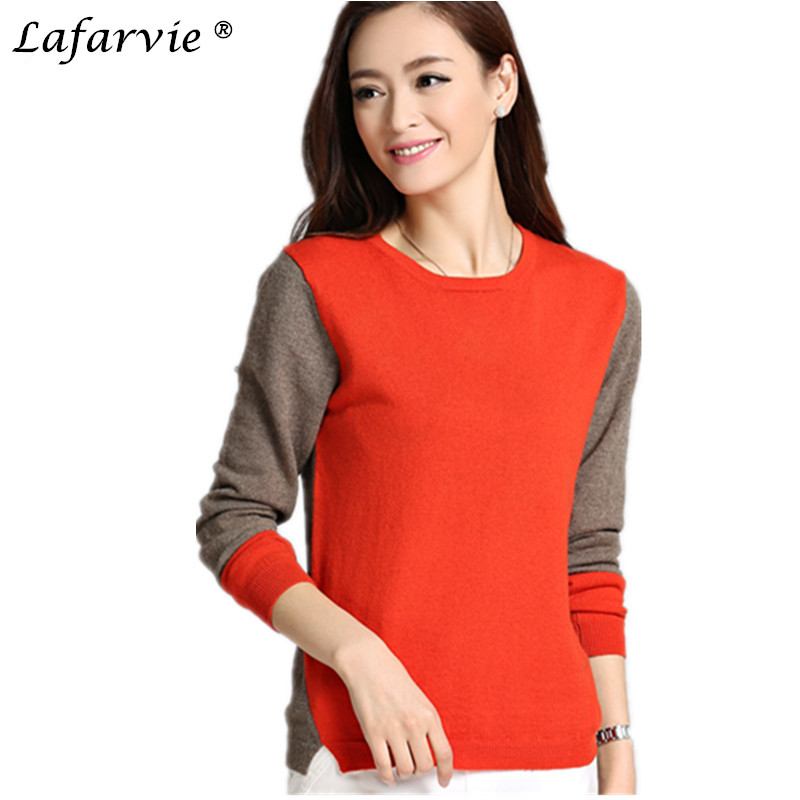 Lafarvie Fashion Cashmere Blended Knitted Sweater Women Tops Computer Knitted Pullovers Female O neck Long Sleeve