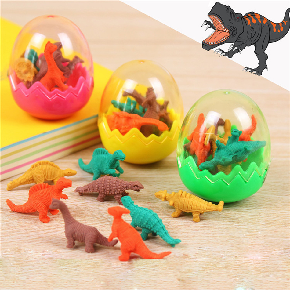 1Ball New Cartoon Dinosaur Egg Shape Colorful Novelty Pencil Eraser Rubber Primary School Student Prizes Gift Stationery E2005