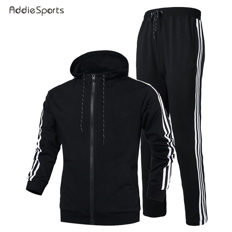 Gym Sports Running suit Men tight Pro fast dry clothes Training gym suit long sleeves Student stripe Leisure suit P18005 grey stripe long sleeves slit hem longline cardigan page 9