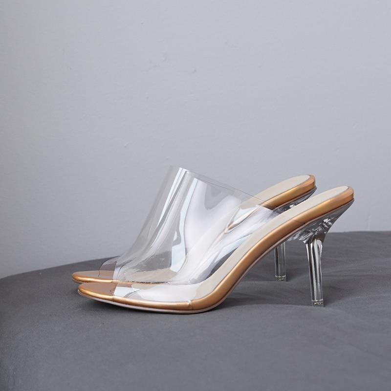 Toe Haute 2019 Heesl Femme argent Nouveau Pvc Transparent Pantoufles Diapositives Isnom Peep Mules Parti D'été Or Chaussures Femmes q5xpYE