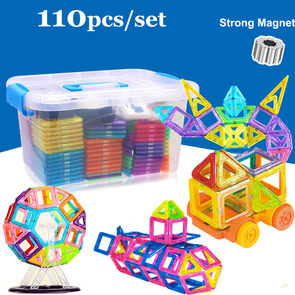 110pcs Mini Magnetic Construction Toys Model Building Blocks Plastic Magnetic Designer Bricks Educational Toys For Children