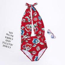 Wasteheart Summer New Halter Deep V Sexy Sports Swim One-Piece Suits Swimwear Sportswear Holiday Beach Style Printed