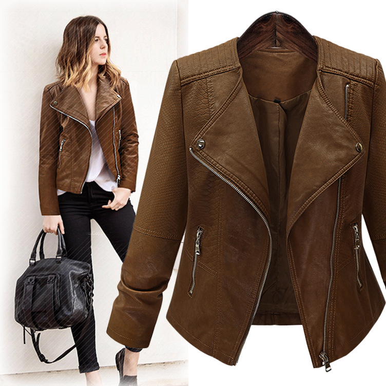 Large Size Women Pu   Leather   Jackets Short Section Motorcycle Jacket Zipper Pocket Spring Autumn Casual Coffee   Leather   Coats D305