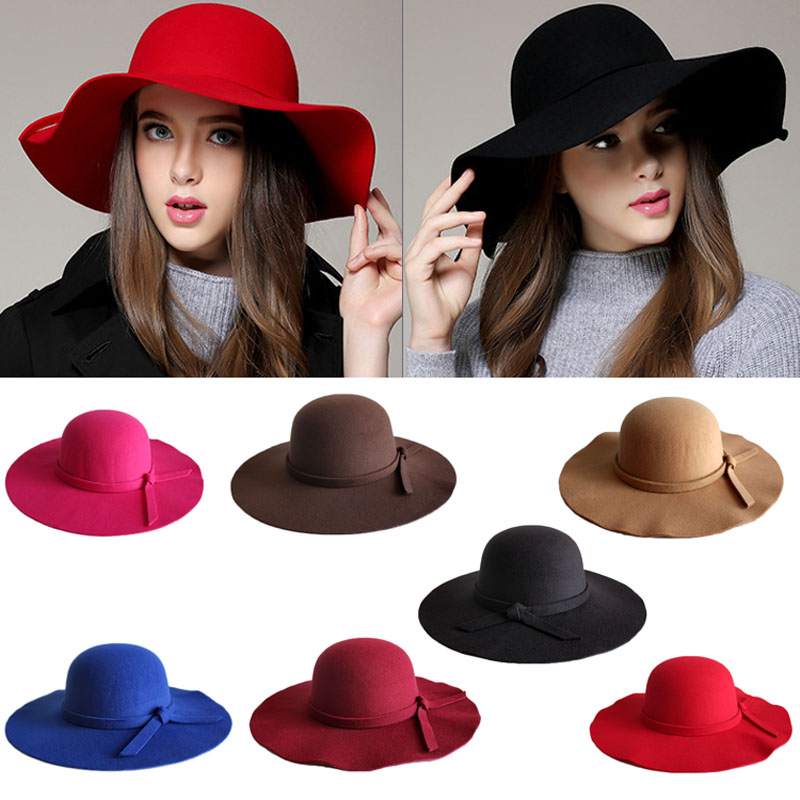 Fashion Women Beach Sun Hat Waves Big Brim Sunbonnet Imitation Wool Sun Hat H9