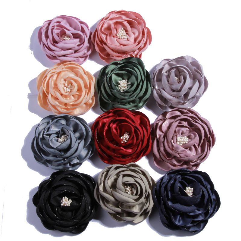 10PCS 7CM Vintage Burned Eage Satin Flowers With Stamen For Headdress Corsage Flower For Hat Dress Accessories