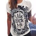 Mujeres Totem Camiseta ocasional harajuku impresión de la camiseta de la Letra impresa Algodón mezcla tee camisas para mujeres Casual Tops XXL