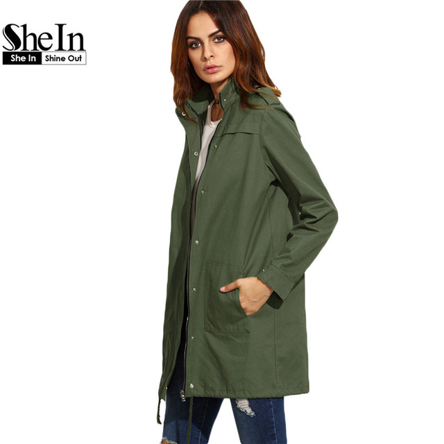 SheIn Casual Outerwear For Women Autumn Ladies Oliver Green Stand Collar Long Sleeve Button Up Zipper Utility Coat