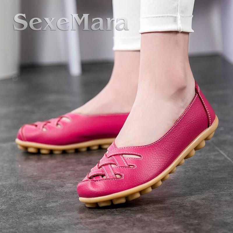 2017 Primavera verano Nueva Mujer de Moda de Cuero Pisos Mocasines Zapatos Cómod