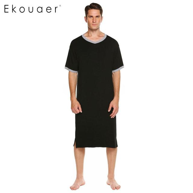 f2c8a13a67 Ekouaer Men Nightshirts Casual Sleepwear V-Neck Short Sleeve Contrast Color  Sleepshirt Men Soft Lounge Homewear Nightshirt