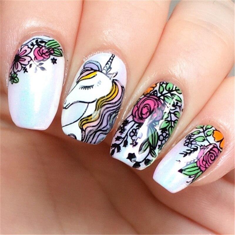 UR SUGAR Rectangle Nail Art Stamping Template Unicorn Dreamy Fairy ...