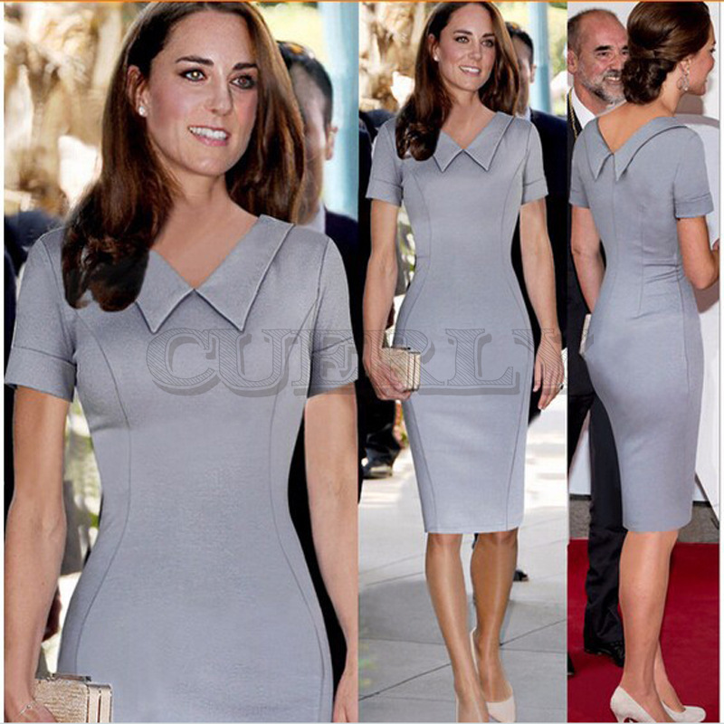Kate Middleton automne solide Sexy robe femmes pull à manches courtes Slim Stretch soyeux OL Patchwork curement Verano 2019