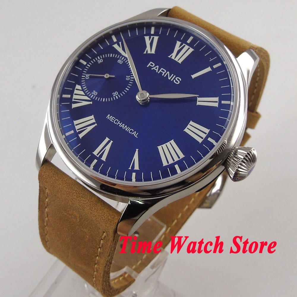 44mm Parnis mechanical mens watch Royal blue dial Roman numerals luminous 17 jewels 6497 hand winding movement wrist watch 2144mm Parnis mechanical mens watch Royal blue dial Roman numerals luminous 17 jewels 6497 hand winding movement wrist watch 21