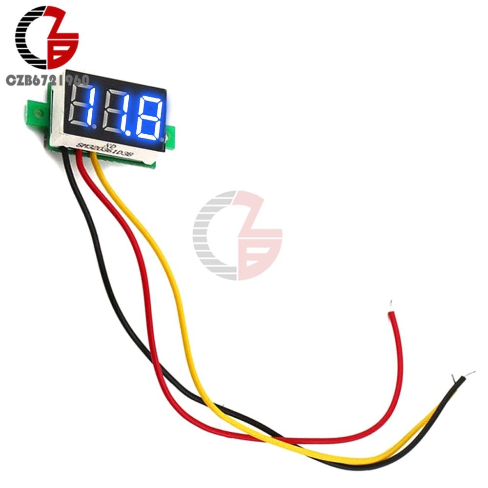 HTB1nnY3B4uTBuNkHFNRq6A9qpXaI 0.28 inch DC LED Digital Voltmeter 0-100V Voltage Meter Auto Car Mobile Power Voltage Tester Detector 12V Red Green Blue Yellow