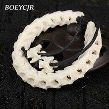BOEYCJR 100% Thailand Natural Snake Bone Bangles & Bracelets Ethnic Vintage Jewelry Energy Bracelet For Women or Men Gift 2019