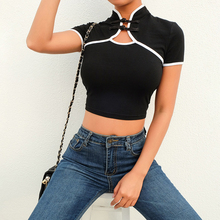 summer new style Chinese wind button buckle hollow top Stitching navel temperament T-shirt