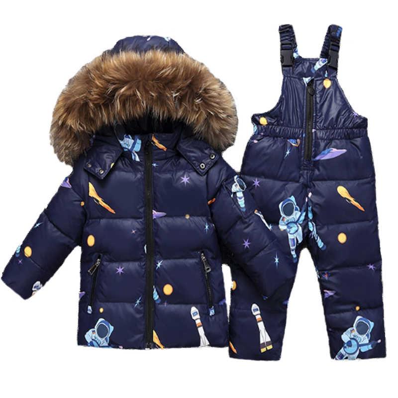 08915d8b8e8 2019 Kids Winter Jacket Overalls For Children Boys Girls Snowsuit ...