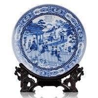 BEST business birthday present   vintage handicraft Twelve Ladies of Jinling blue and white porcelain plate Decor art