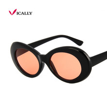 d4d30286214 Newest Kurt Cobain sunglasses oval ladies sun glasses Vintage retro  sunglasses Women s Celebrity Hip Hop Rock