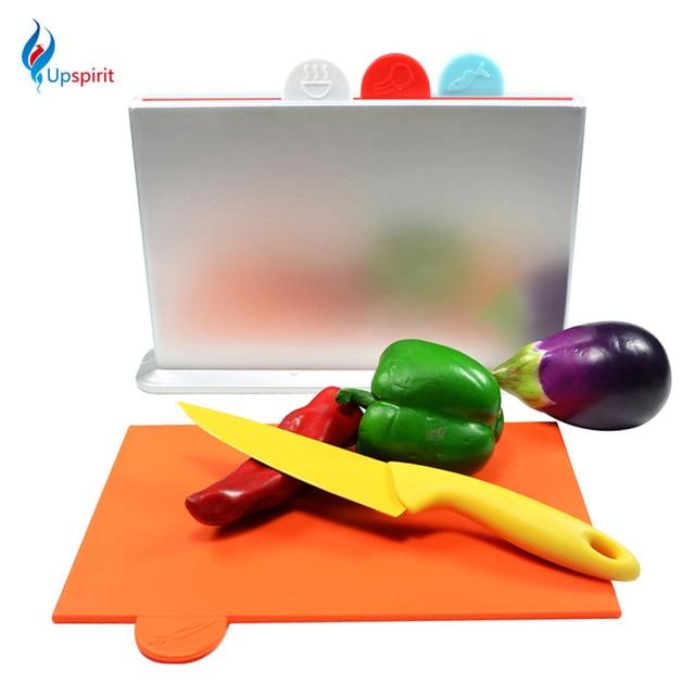 Upspirit Kitchen Set 4pcs Plastic Cutting Chopping Board + 1pcs ABS Holder  Fruit Vegetable Cutting Board