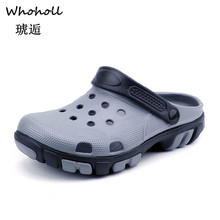 Whoholl 2019 Men Sandals Summer Slippers Shoes Croc Fashion Beach Casual Flat Slip on Flip Flops Hollow