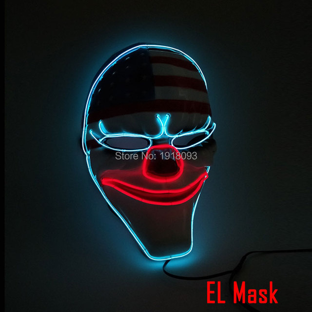 New arrival Sound Activated national flag Mask Clown Mask LED Strip EL wire Glowing Neon light Mask For Carnival Crazy Party