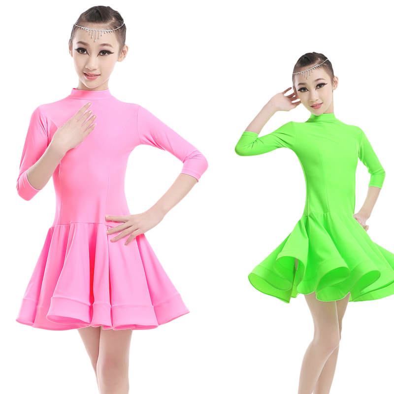 Professional Girls Children Kids Ballroom Dance Costumes 3/4 Long Sleeve Turtleneck Spandex Latin Dance Dress