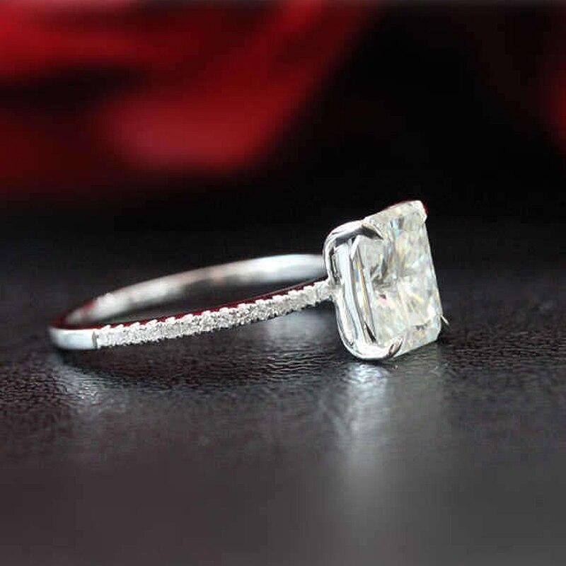 1.8ct 放射エメラルドカットモアッサナイト婚約指輪 14 18K ホワイトゴールドモアッサナイトブライダルリング/プロミスリング/結婚記念日リング  グループ上の ジュエリー & アクセサリー からの 指輪 の中 2