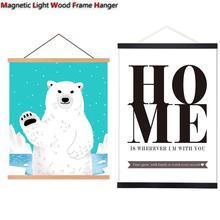 Подвесные свитки из цельного дерева, магнитный светильник, деревянная рама, вешалка для фото, Picutre, холст, художественный принт, настенные подвесные плакаты, рама 21-80 см