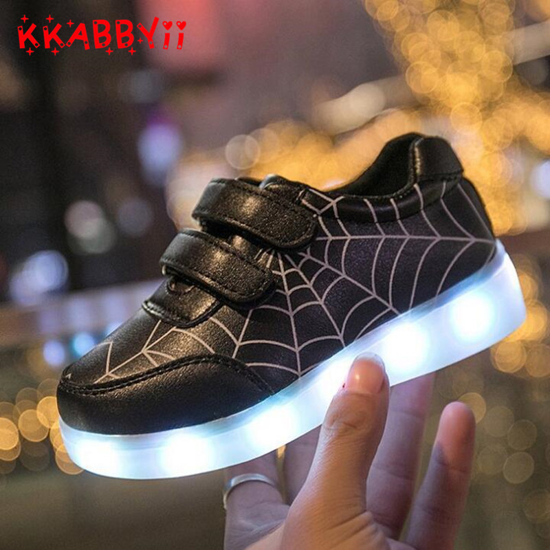 EUR 22-35 Luminous Sneakers USB Charge Led Children Shoes Boy Girl Spider-Man Glowing Tennis Kids Light up Shoes