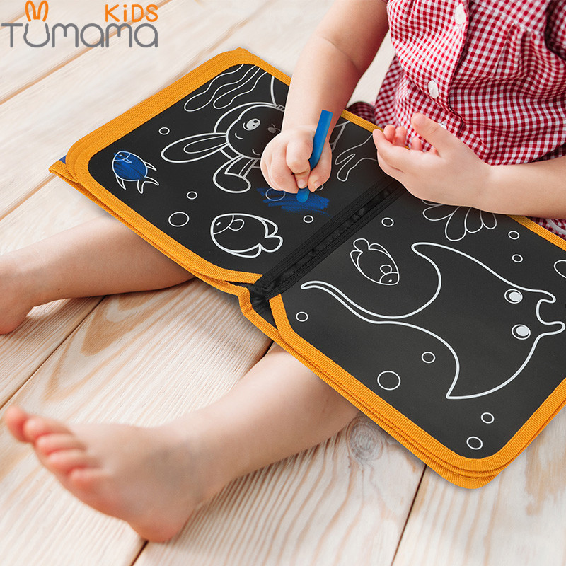 Tumama Portable Soft Chalk Board Drawing Book Animal Marine Life Coloring Book DIY Blackboard Painting Drawing Board with Chalk
