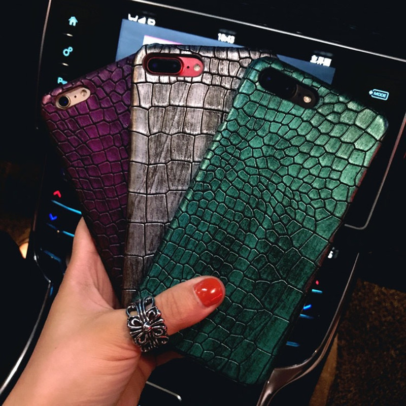 Case For iPhone X 8 7 Plus Luxury Retro 3D Crocodile Pattern Slim Leather Hard PC Cover For Apple iPhone7 6 6S Plus Back Cover
