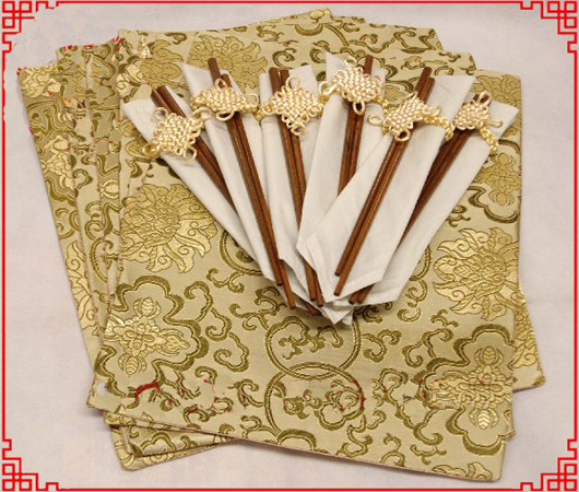 Luxury Party Dining Table 6 Placemats Chopstick Napkins