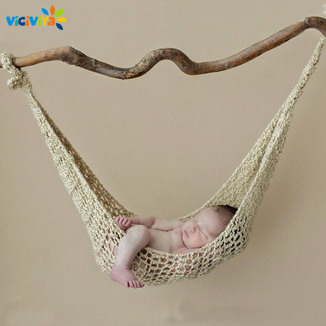 2019 Crochet Hammock Newborn Baby Photography Props Crochet Baby Cocoon Photo Shoot Knitted Hanging Bed Fotografia Accessories