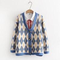 2018 autumn Vintage preppy style Geometric print v neck wool sweater Cardigan mori girl