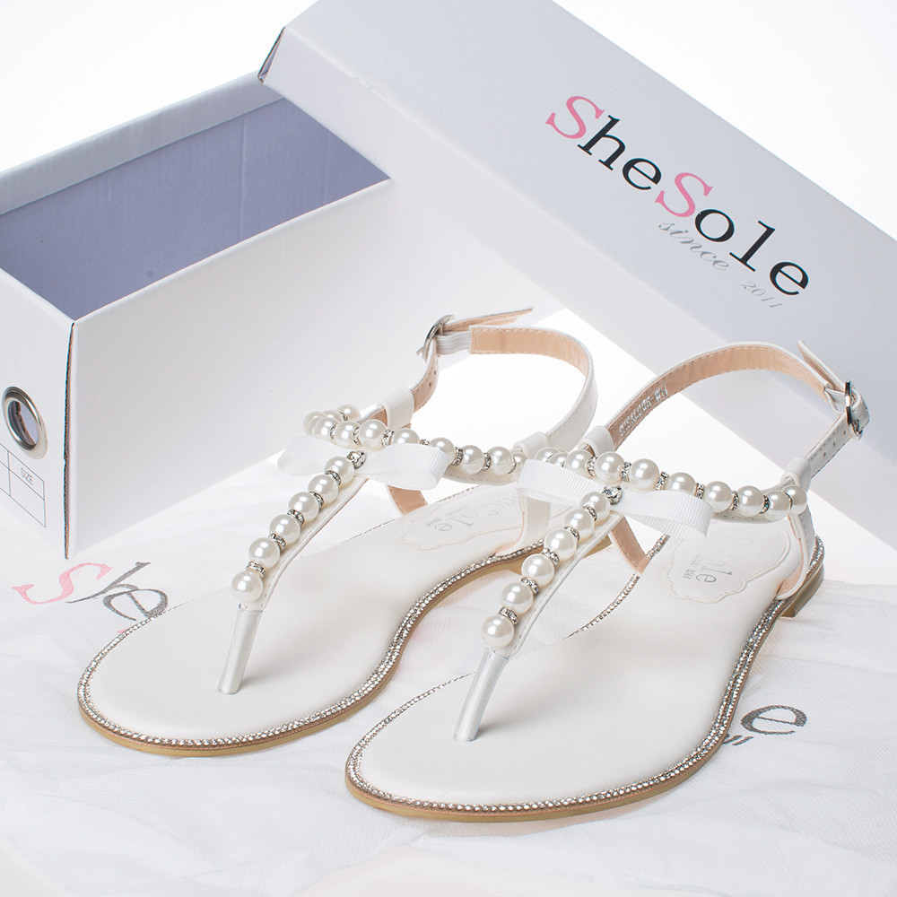 New Brand SheSole Summer Flats Sandals Women Flip Flops Pu Leather Pearl Wedding Shoes Bride
