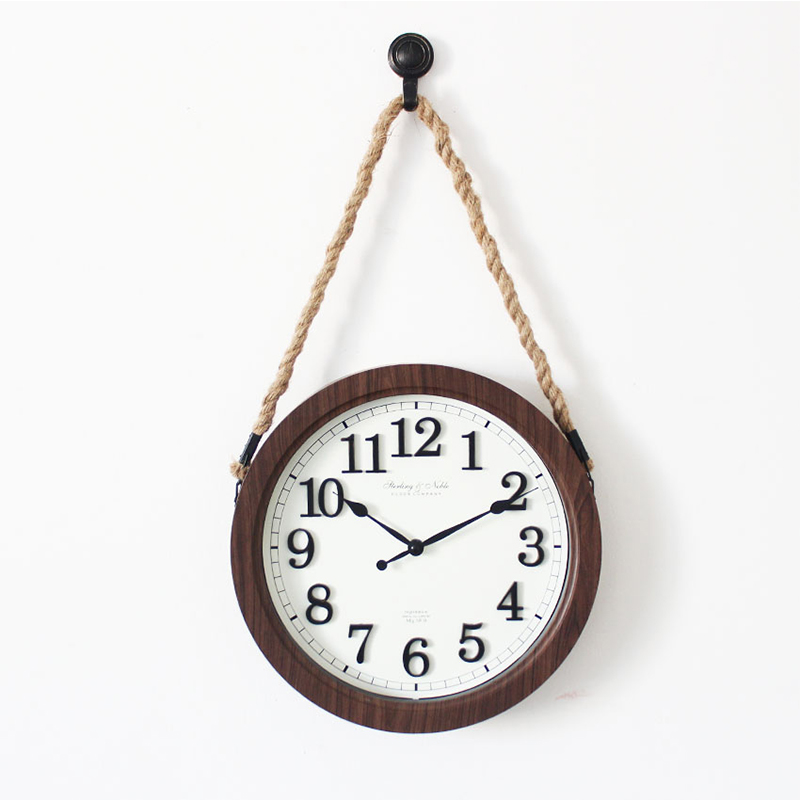 12 inches creative strap wall hanging clock/watch Imitation wood frame minimalist bedroom living room mute quartz clock
