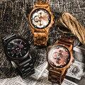 Drop Verschiffen Luxus Holz Uhr Mans armbanduhr Männer Uhr Stilvolle Holz Uhren Chronograph Quarz Uhren relogio masculino