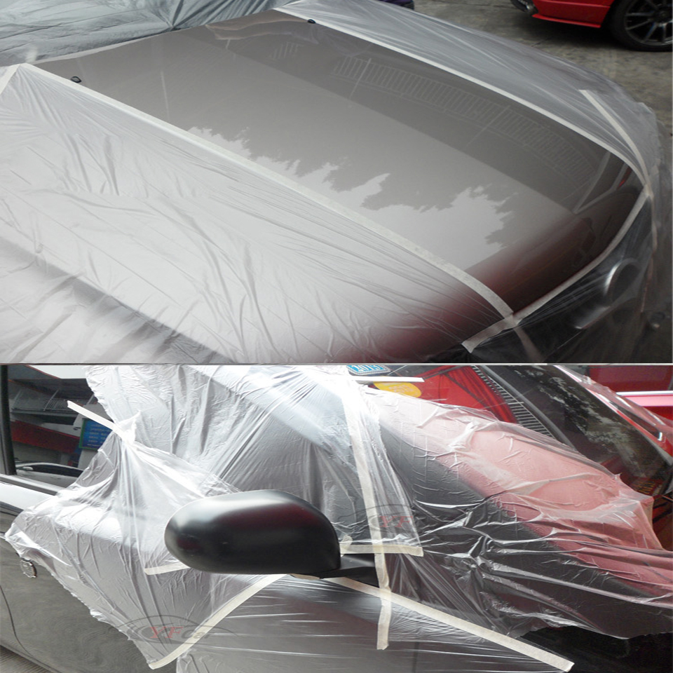 Image 5 - Spray Paint Protection Film 0.55x25m Pre Taped Plastic Drop Cloth Masking Film For Plasti Dip Masking MO 106W 5rolls/Lot-in Car Stickers from Automobiles & Motorcycles