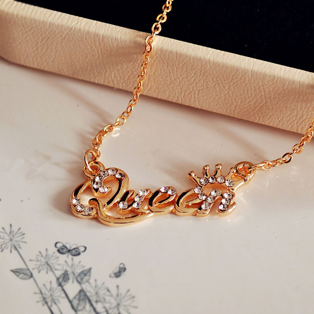 Shuangr romantic gift stainless steel necklaces pendants queen shuangr romantic gift stainless steel necklaces pendants queen personalized name choker gold color necklace for negle Images