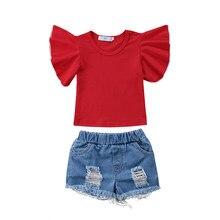 66778cc1 Moda nuevo niño niños niña ropa Ruffles manga camiseta roja Tops + ripped  Denim Pantalones cortos Jean 2 unids equipo ropa de lo.
