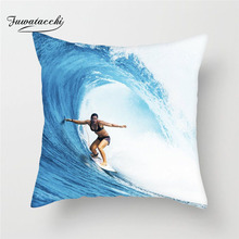 Fuwatacchi Surfing Pattern Cushion Cover Girl Surfing Throw Pillow Case Sofa Home Decoration Surfing Pillowcase Home Decoration