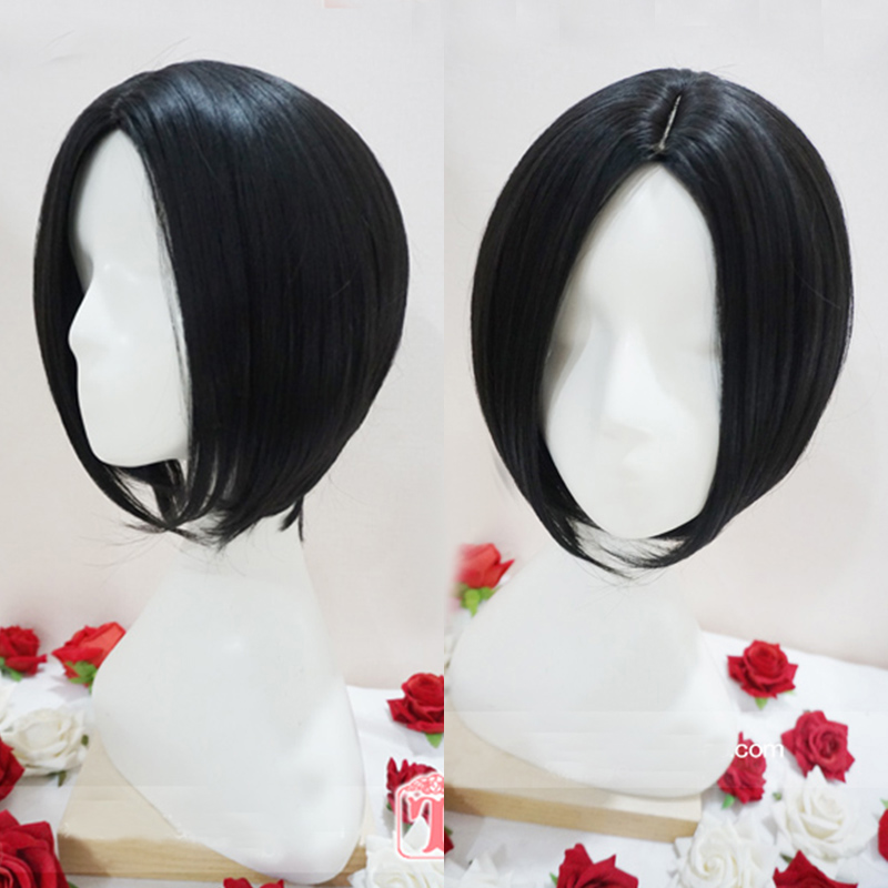 NANA Oosaki Nana Black Short Straight Central Parting Hairstyles Heat Resistant Hair Cosplay Costume Wig + Free Wig Cap