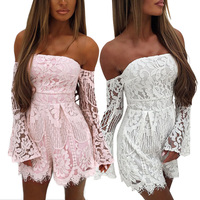 Women Sexy Hot Jumsuits Rompers Lace Short Shoulder Off Club Fashion Button Jumpers European And American