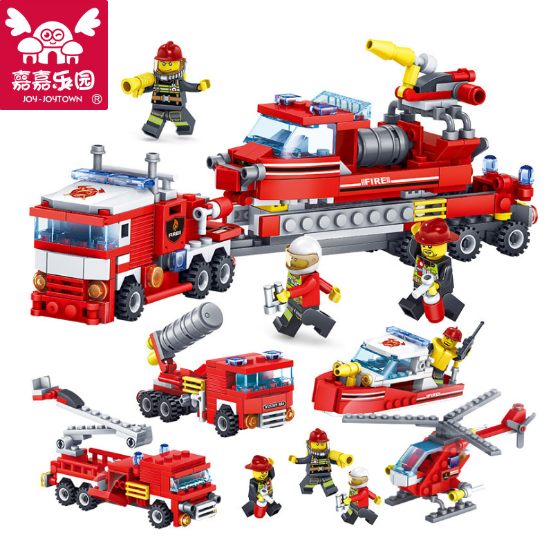 цена на JOY-JOYTOWN 4 IN 1 Fire Fighting Car Helicopter Boat Building Blocks City Fire Fighters Bricks Educational Toys for Children